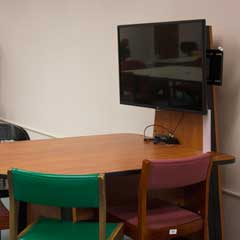 Group table and large monitor in the 2nd Floor Study Area